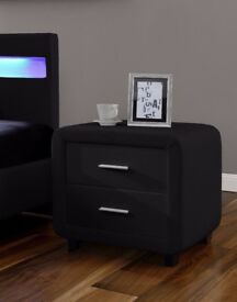 Black Faux Leather Bedside Table Cabinet Night Stand