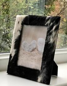 Cowhide photo frame