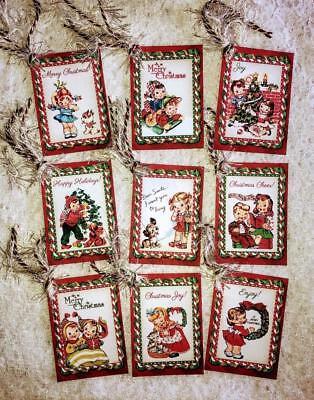 Christmas Gift Tags Set (Set of 9 Hang Tags~Vintage Christmas Kids~Gift)