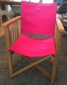 """Habitat """"Africa"""" Folding Director's Chair - changeable Fuchsia cover - like new!"""