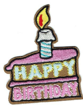 Girl Boy Cub HAPPY BIRTHDAY Slice Cake Fun Patches Crest Badge SCOUT GUIDE Party (Cubs Birthday Cake)