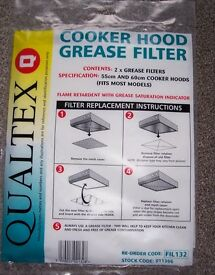 Pack of 2 x Qualtex Cooker Hood Grease Filter - New Unopened - 55 cm and 60 cm hoods