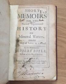 Robert Boyle - Short Memoirs for the Natural Experimental History of Mineral Waters (1685)
