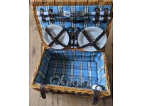 Wicker picnic basket (with plates, cutlery etc.)