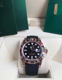 Rolex, Yachtmaster 40, Rose Gold/Rubber, Rainbow Bezel (Custom) - 116655 Watch
