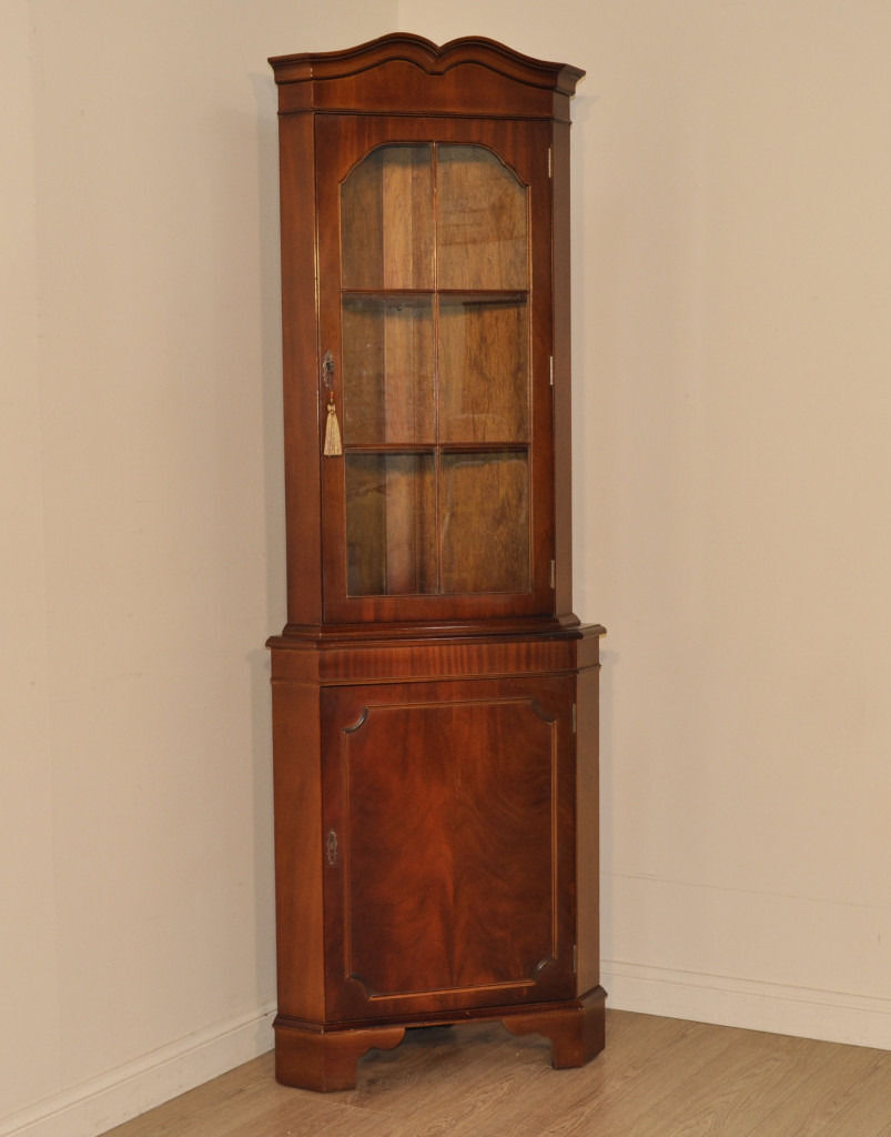 Attractive Vintage Tall Mahogany Corner Display Bookcase