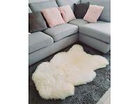 Sheepskin Rug Pelt 100% Natural Soft Fluffy Real Fur Ivory White Various Sizes