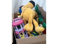 Box of mixed toys disney, TMNT, soft toys etc