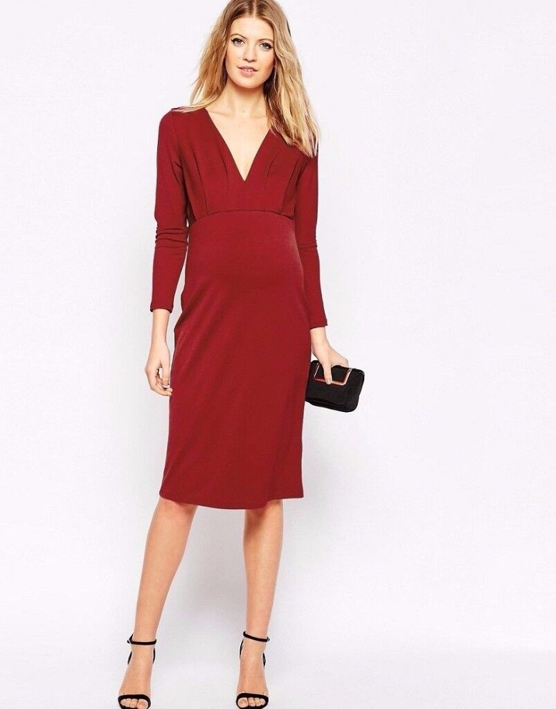 Maternity Burgundy Jersey Crepe Plunge Midi Lond Sleeve Dress UK 12 new