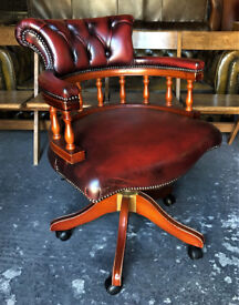 Oxblood leather Chesterfield Captains chair