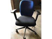 4 Avaliable - Black & Blue Fabric Recliner Office Chairs