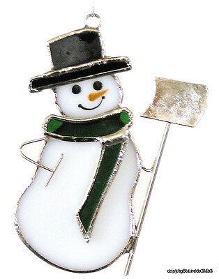 Stained Glass Snowman SunCatcher Ornament