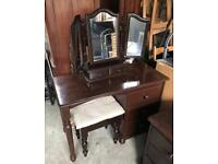 Dressing Table With Mirror, Stall and Side Table Set