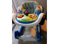 2 in 1 blue racing car sit in walker/rocker and Paw Patrol ride on car with parent handle