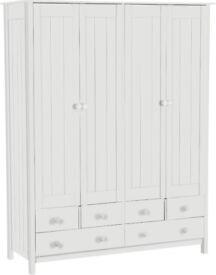 EX DISPLAY New Scandinavia 4 Door 6 Drawer Wardrobe - White