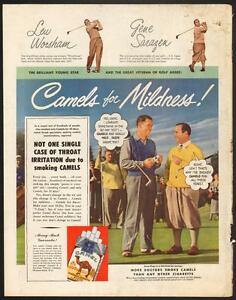 1949 full page magazine ad for Camel Cigrettes with pro golfers
