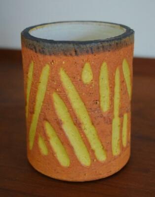 VTG MCM Marcello Fantoni for Raymor Art Pottery Orange Yellow Vase Italy Signed