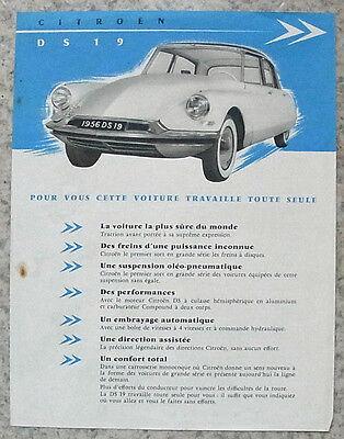 CITROEN DS 19 Car Sales Specification Leaflet 1955-56 FRENCH -