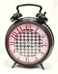 New Extra Large Black Red White Houndstooth Wall / Table Alarm Clock - NWT