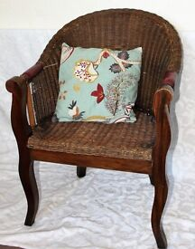 Lovely antique mahonany and basket chair
