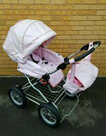 Pink leather pram excellent condition