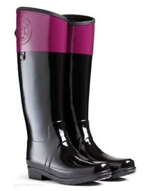 Womens Hunter Sandhurst Carlyle Black Ruby Rubber Boots Wellies Size UK6