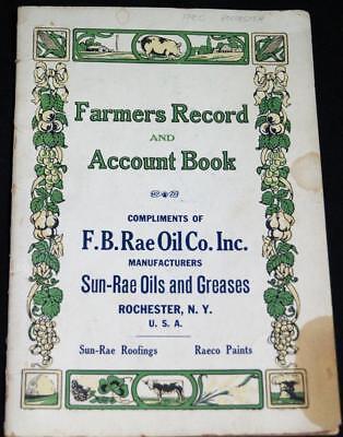 SUN RAE OILS ADVERTISING FARMER'S RECORD & ACCOUNT BOOK GUIDE 1920 (Sun Account)