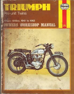 TRIUMPH SPEED TWIN 5T,THUNDERBIRD,T120 BONNEVILLE,TROPHY HAYNES MANUAL 1947-1962
