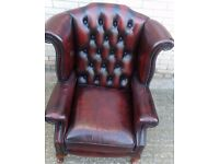 1 x Vintage Red Chesterfield Arm Chair, Ref: 6