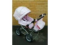 Stunning pink leather pram excellent condition