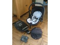 Kiddy Evo-Lunafix 0+ Carseat with Isofix base, lie flat option, fly/raincover,adapters - £75 ONO