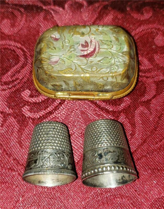 Vintage Antique Sewing THIMBLE Holder & 2 Engraved Sterling Silver Thimbles