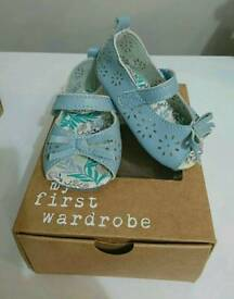 Next baby girls blue shoes