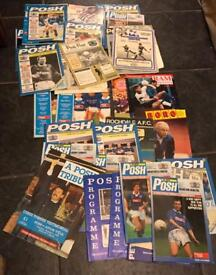 Collection of old Peterborough united FC football programmes
