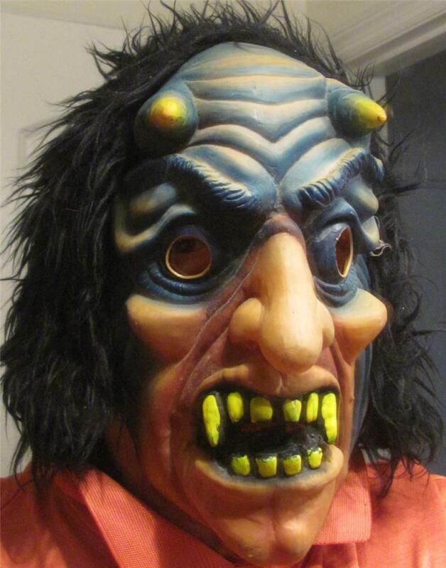 DEMON DRACULA  DEVIL   LATEX-FULL HOODED HAIR -ADULT Halloween Costume Mask