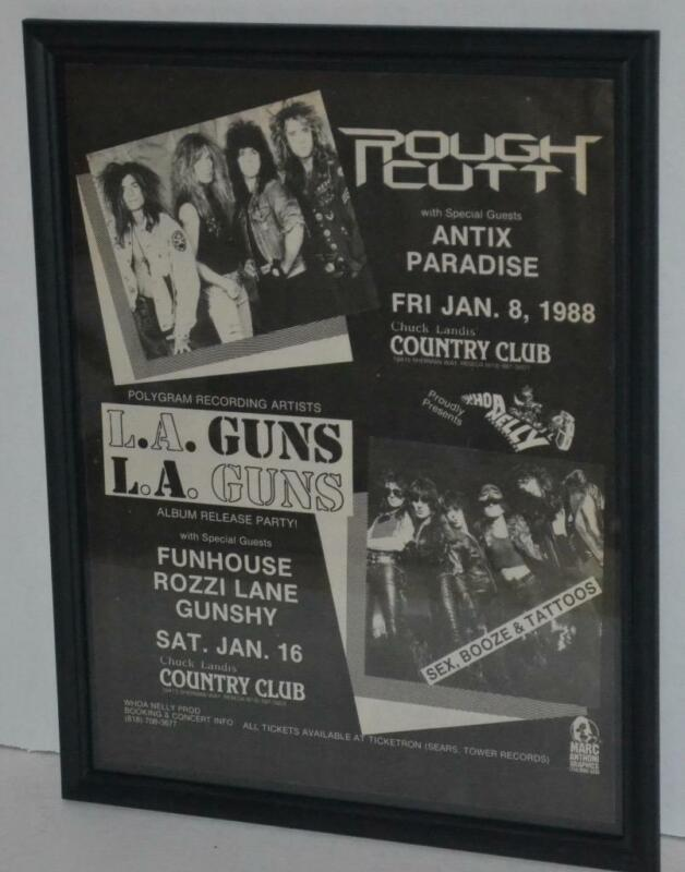 LA GUNS ROUGH CUTT 1987 COUNTRY CLUB FRAMED PROMO CONCERT POSTER / AD