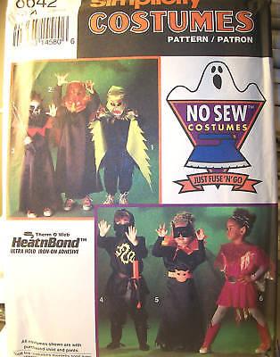 No Sew Halloween Costume (NO SEW Kids S 8642 UNCUT Costumes Halloween Pattern)