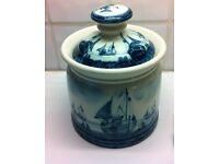 Ceramic biscuit caddy from IDEN Potteries with fishing boat scene