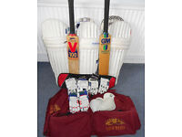 Cricket Set - 3 Pairs Pads, 3 Pairs Gloves, 2 Bats, Newbery Bag