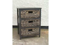 Small - Wicker and Wood - Shabby Chic 3 Drawer Chest
