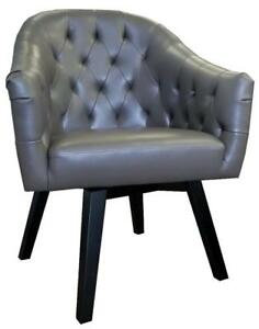 Grey or Black Tufted Swivel Armchair w/Brushed Nailhead Trim
