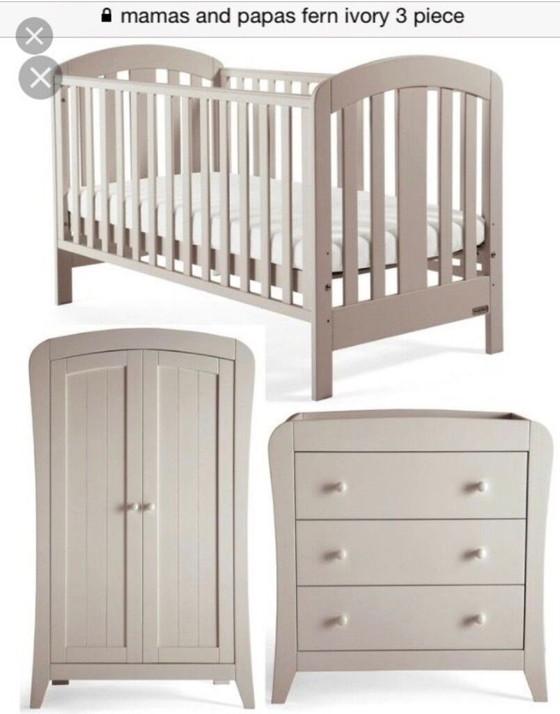 mamas and papas fern nursery furniture set cot cot bed in falkirk