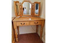 Pine Dressing Table with Free-Standing Mirror