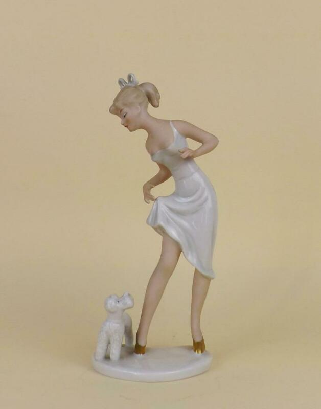 Antique Porcelain German Art Deco Figurine of Lady with Dog by Wallendorf