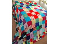 "Huge King Size Vintage Retro Patchwork Bedspread Handmade No.1 (L-111"" x W-102"")"