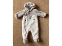 Mothercare Unisex Baby Grey Hooded Pramsuit 3 - 6 Months