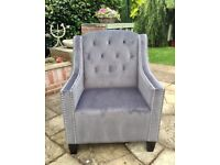 GREY Velvety Soft Buttoned Back Arm Chair Bought From TK Maxx