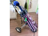 Full set of steel golf clubs + trolley + 40+ balls tees and equipment