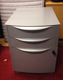 office pedestal grey on wheel filing drawer