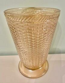 BEAUTIFUL OLD IRIDESCENT CUT GLASS VASE - GREAT SHAPE FOR FLOWER DISPLAYS
